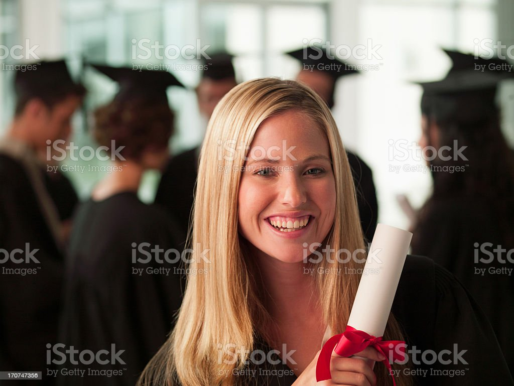 Smiling graduates collge student royalty-free stock photo