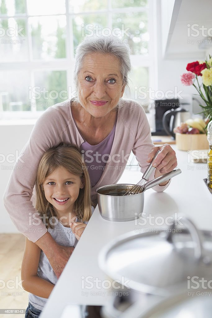 Smiling grandmother and little girl royalty-free stock photo