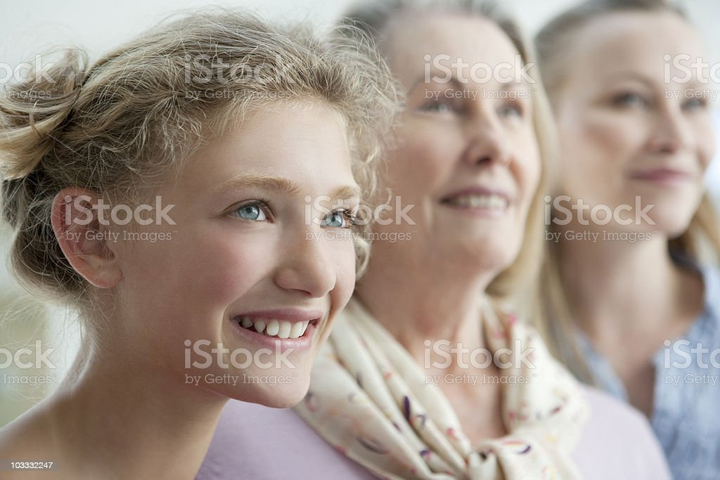 Smiling grandmother, mother and daughter royalty-free stock photo