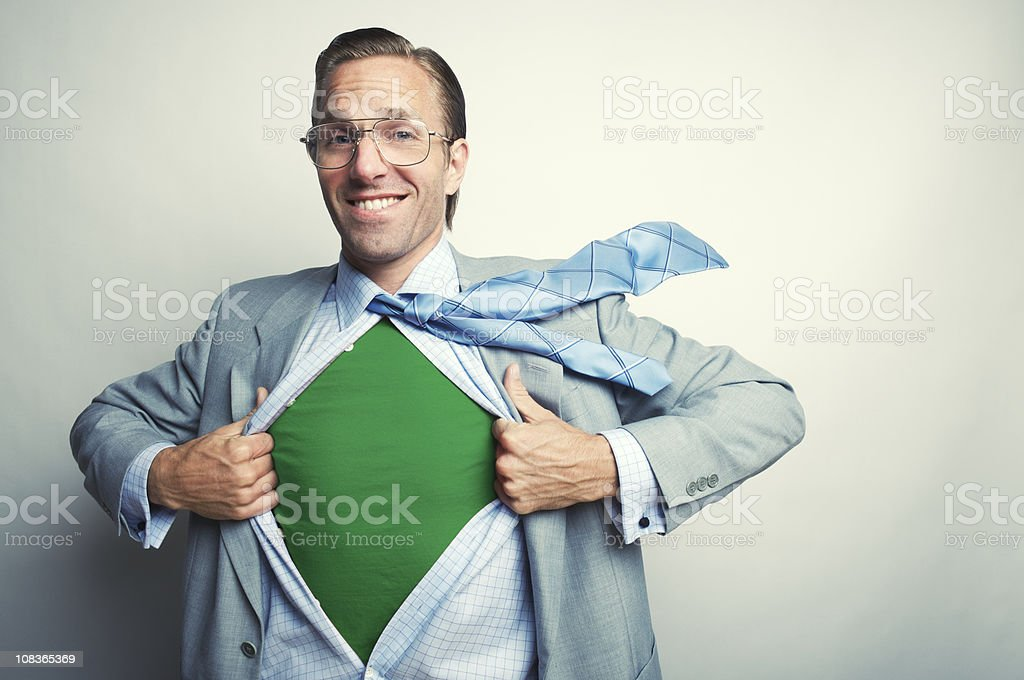 Smiling Green Office Superhero Businessman stock photo