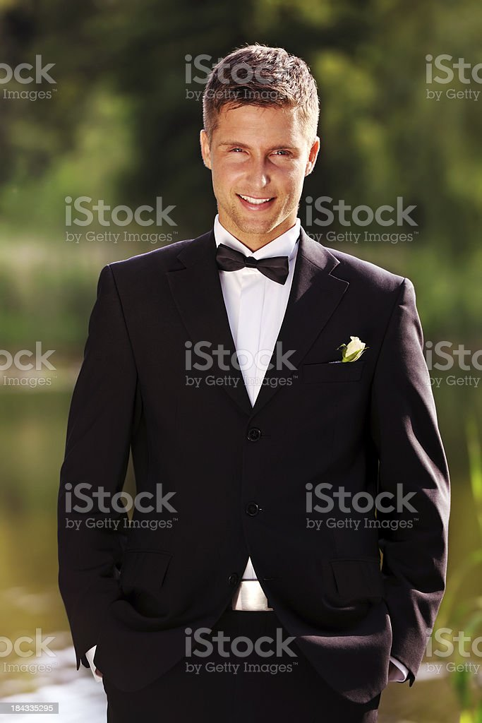 Smiling Groom stock photo