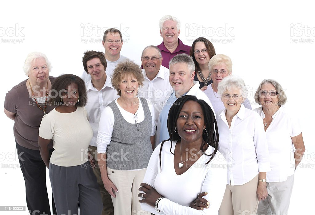 Smiling group of adults over a white background royalty-free stock photo