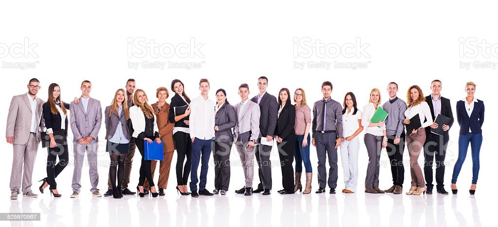 Smiling group of business people in a line. stock photo