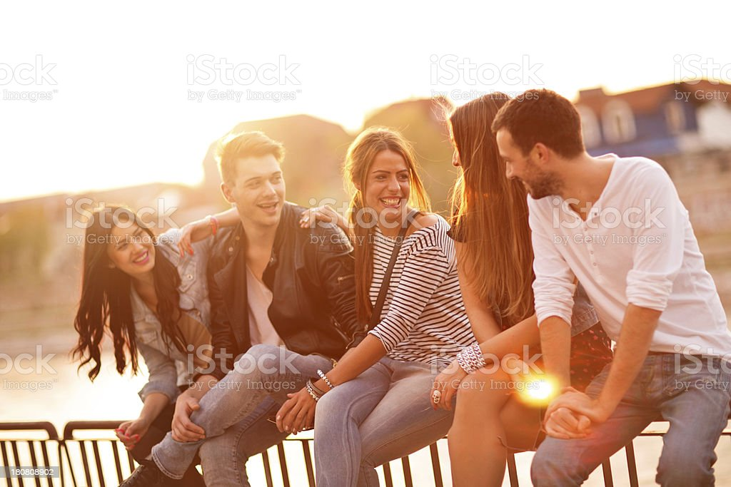 Smiling group of friends royalty-free stock photo