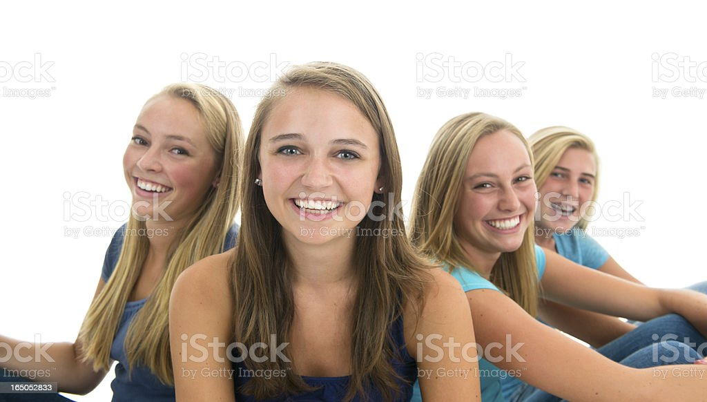 Smiling Group of High School Friends, White Background stock photo