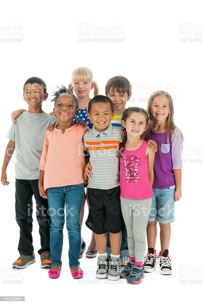 Smiling group of multiethnic children stock photo