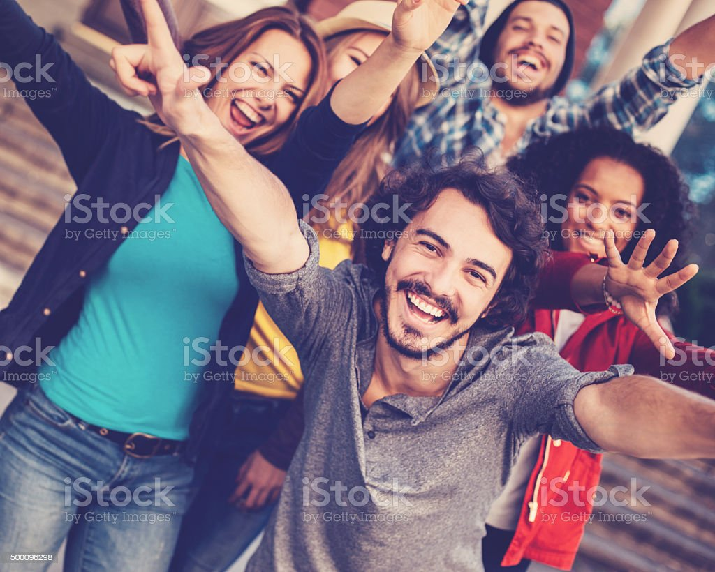 Smiling group of people stock photo