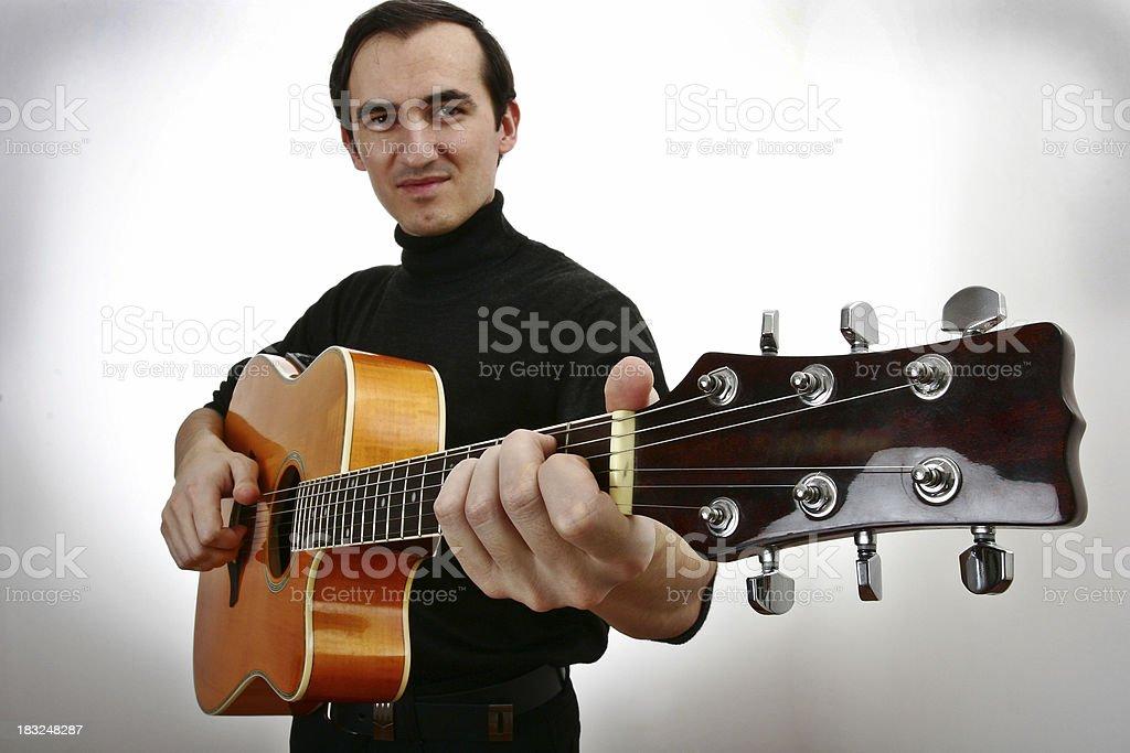 Smiling Guitar Man royalty-free stock photo