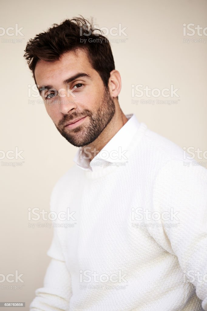 Smiling guy in white stock photo