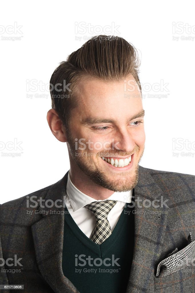 Smiling handsome businessman stock photo