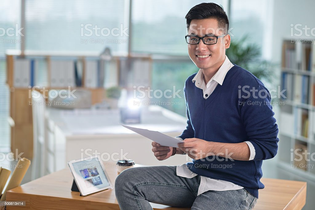 Smiling handsome man stock photo