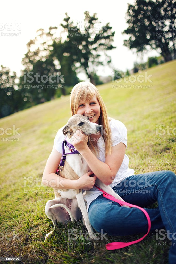 Smiling Happy Dog Owner Field Sitter royalty-free stock photo