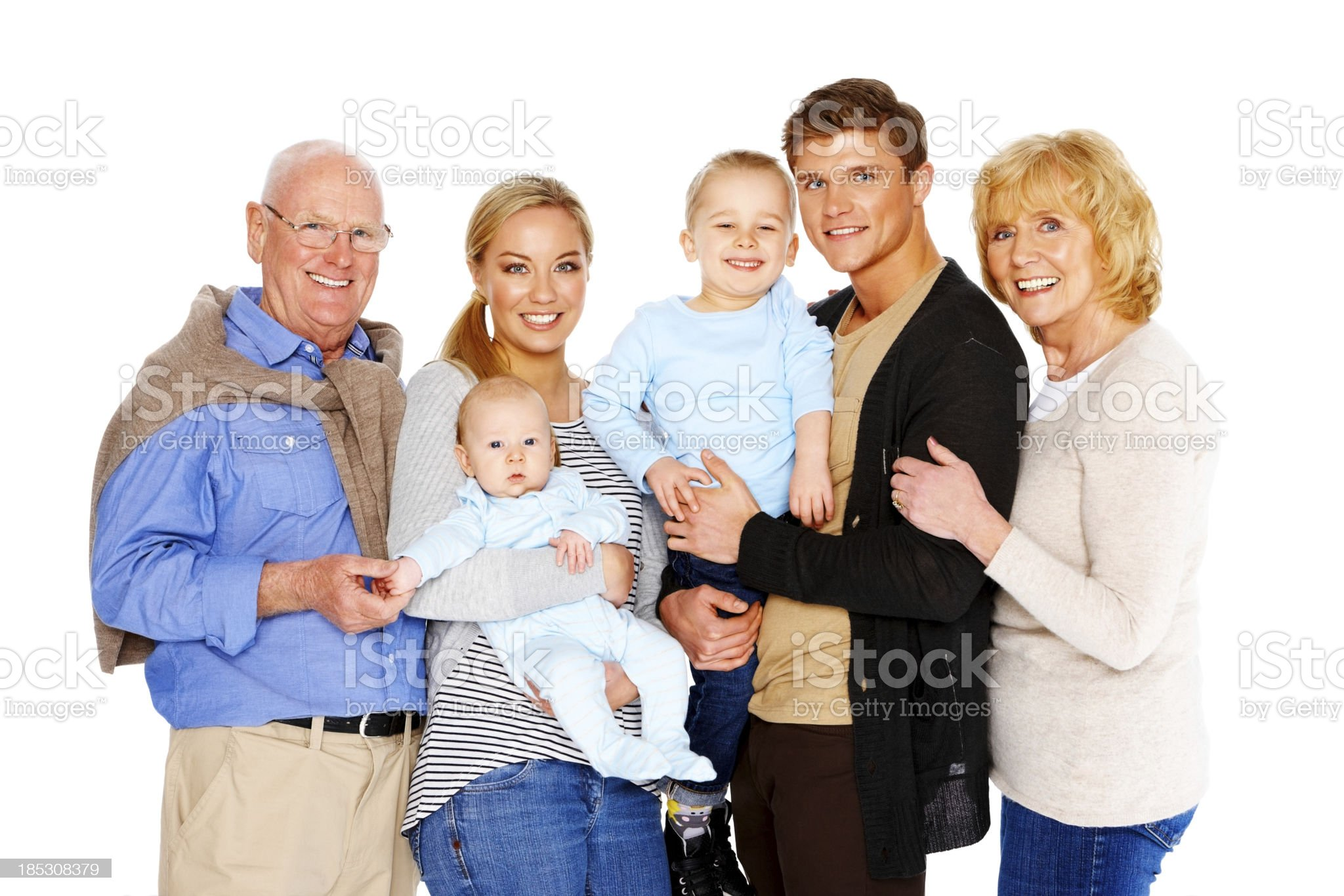 Smiling happy family isolated on white royalty-free stock photo