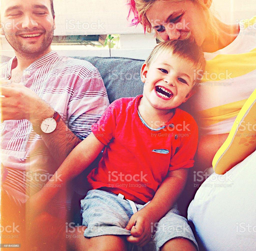 Smiling happy family stock photo