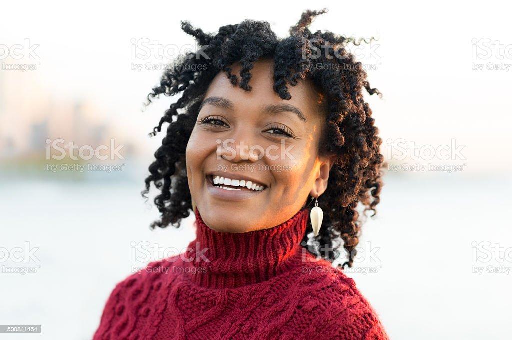 Smiling happy woman stock photo