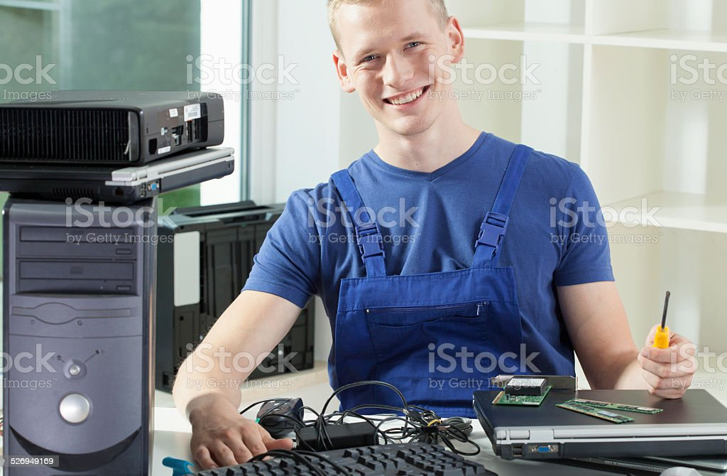 Smiling hardware expert stock photo