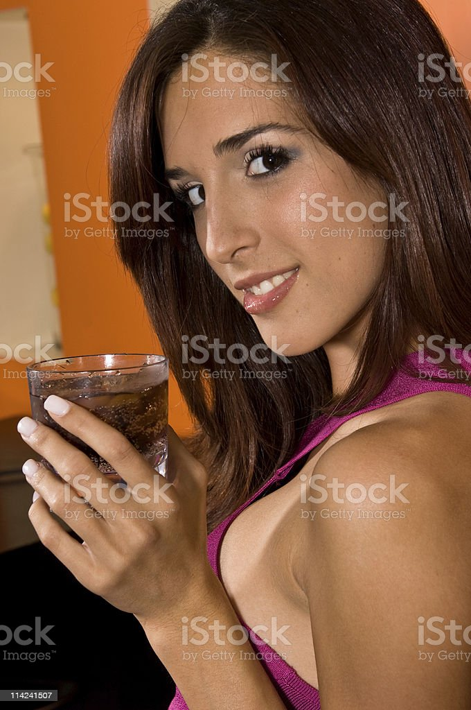 smiling having a drink royalty-free stock photo