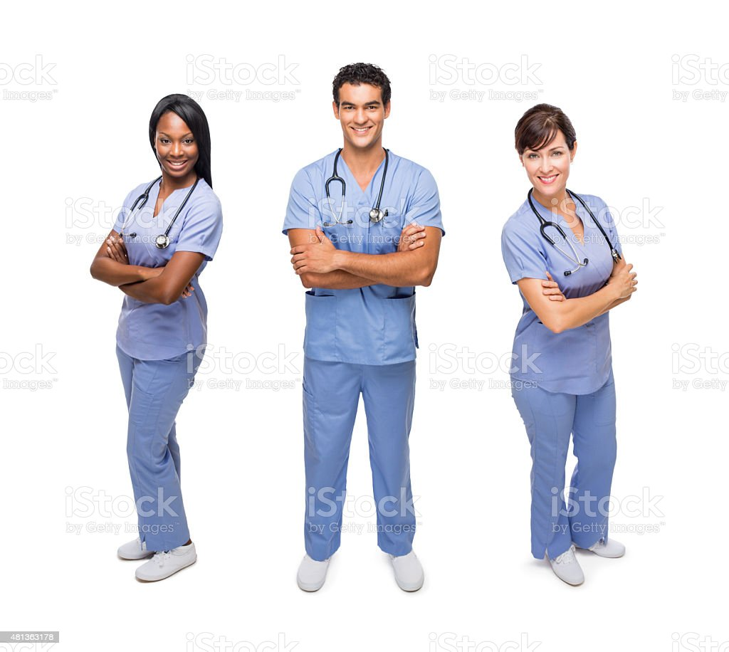 Smiling healthcare workers stock photo