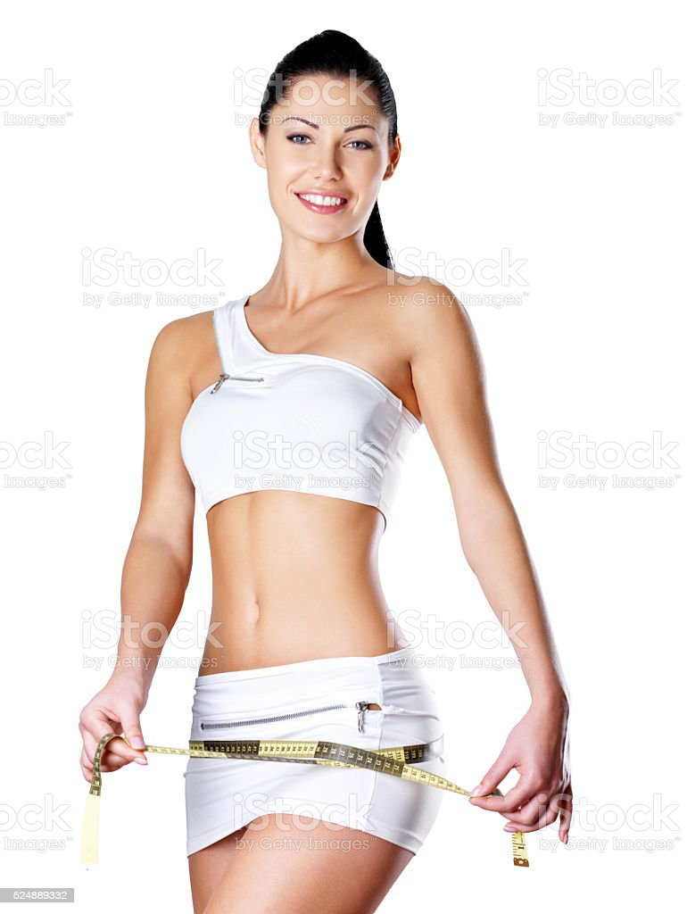 Smiling healthy woman after dieting measures hip stock photo