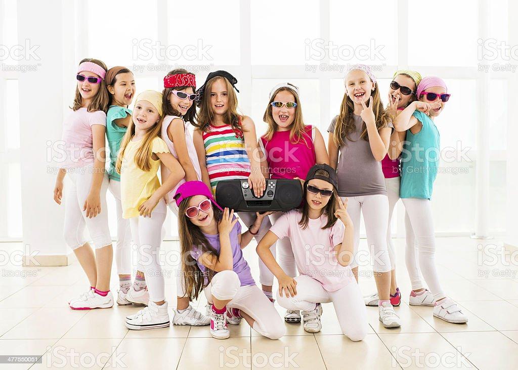 Smiling hip hop dance group. stock photo