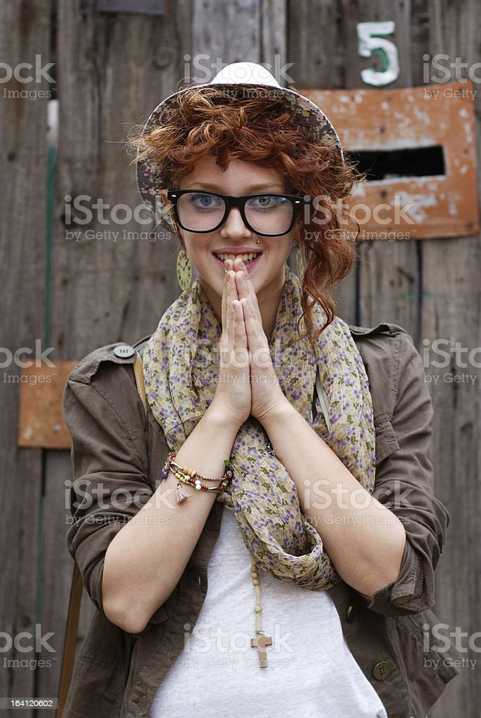Smiling hipster girl royalty-free stock photo