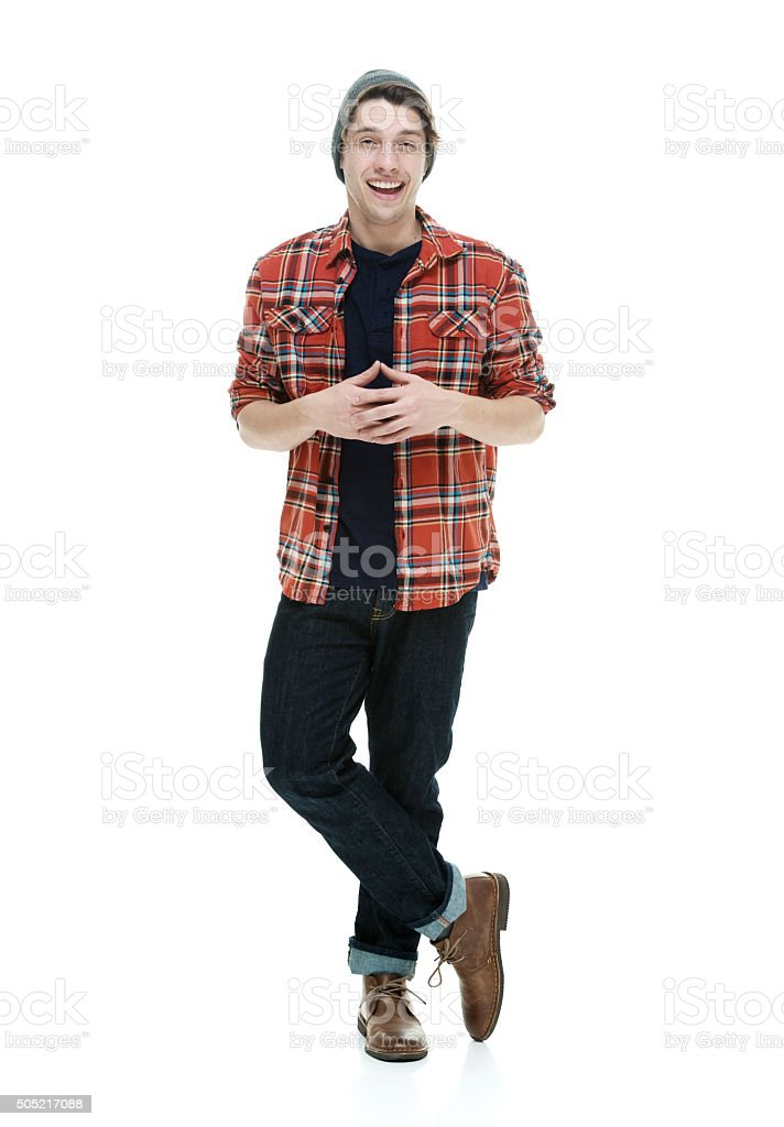 Smiling hipster looking at camera stock photo
