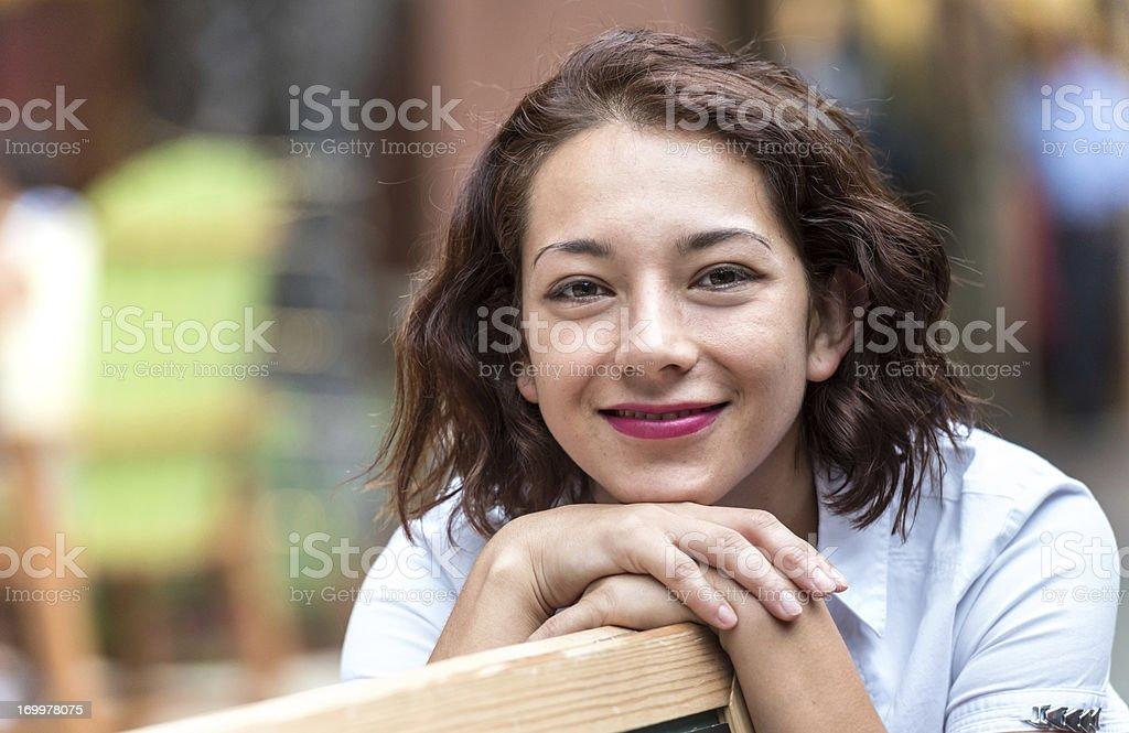 Smiling hispanic young woman royalty-free stock photo