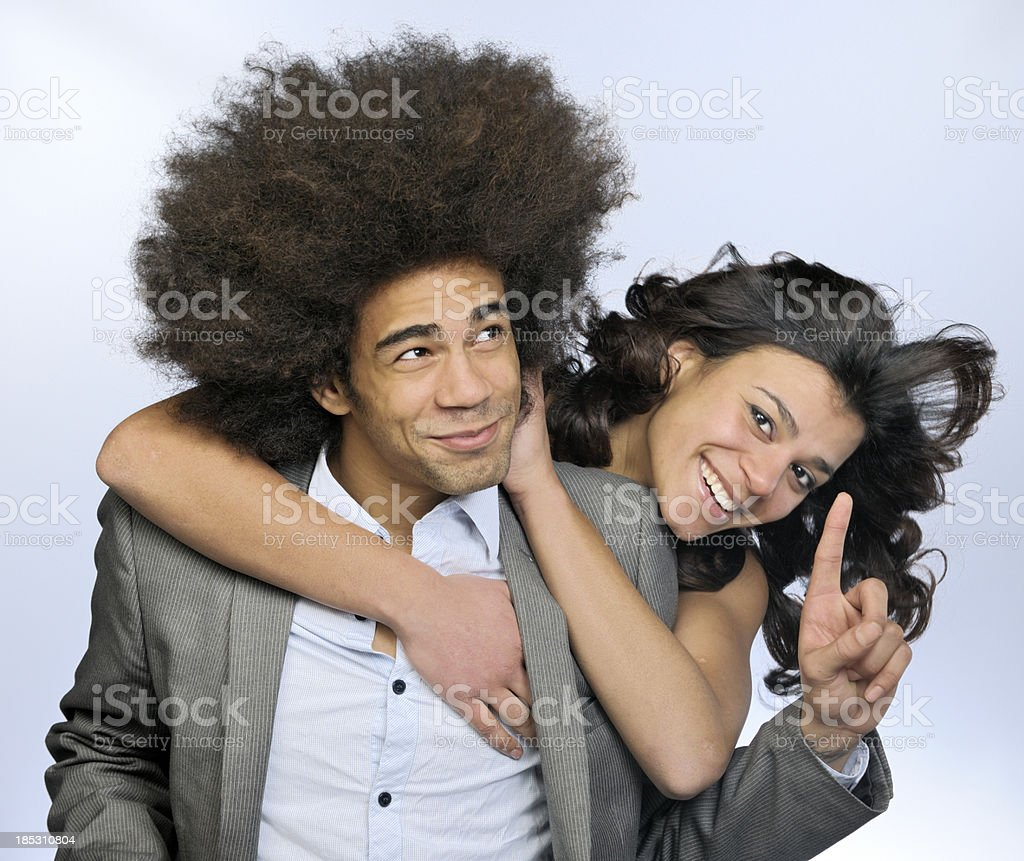 smiling hugging young couple stock photo
