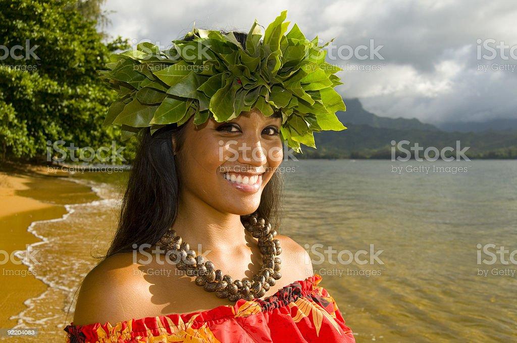 smiling hula girl stock photo