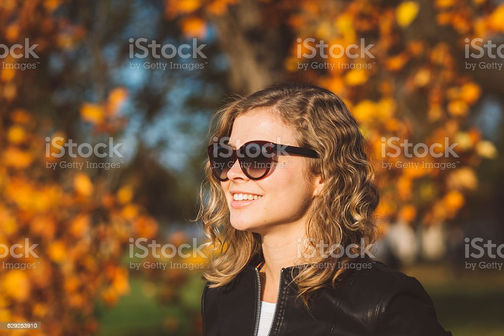 Smiling In Nature During Autumn stock photo
