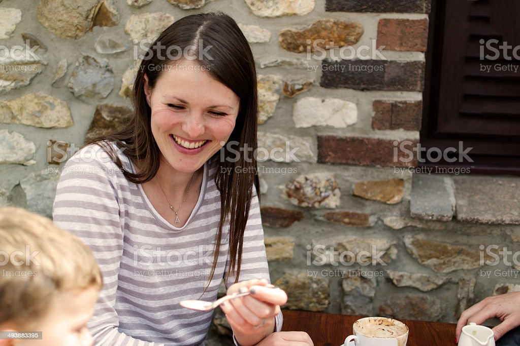 Smiling in the cafe royalty-free stock photo