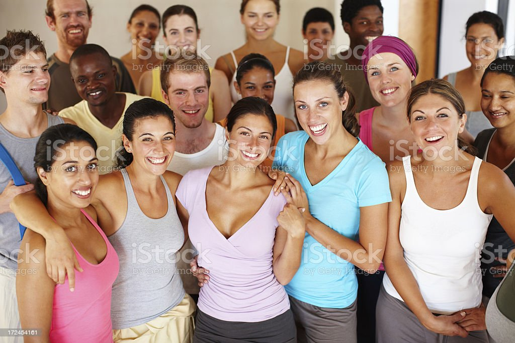 Smiling in the yoga class royalty-free stock photo
