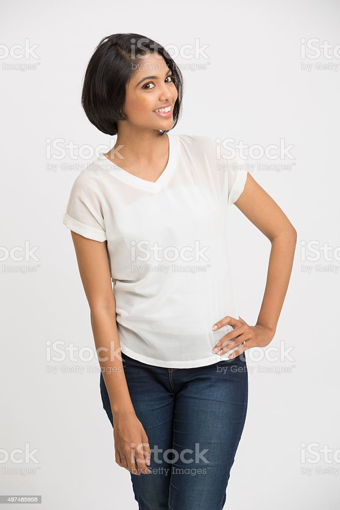 Smiling Indian beautiful woman posing stock photo