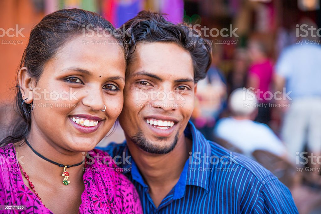 Smiling Indian couple stock photo