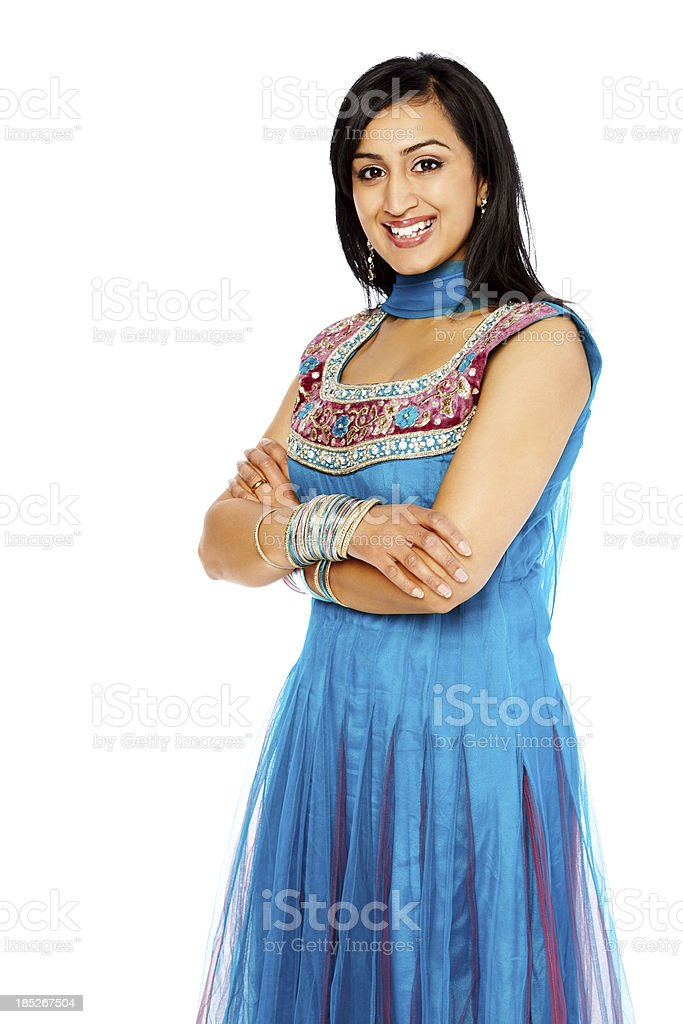 Smiling Indian woman isolated on white background stock photo
