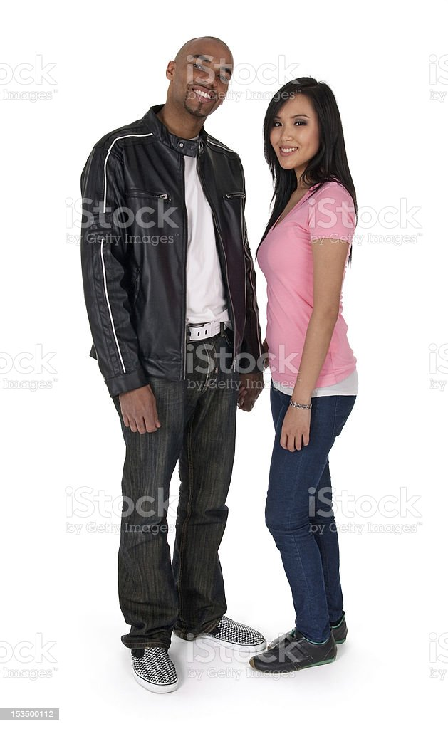 Smiling interracial couple royalty-free stock photo