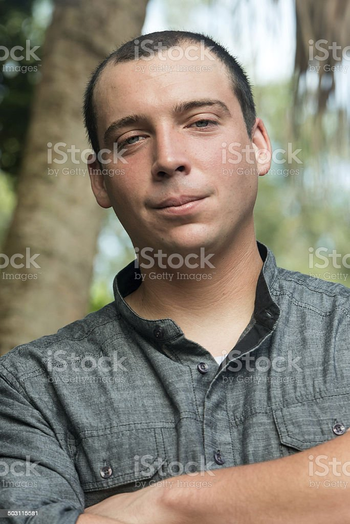 Smiling israeli young man stock photo