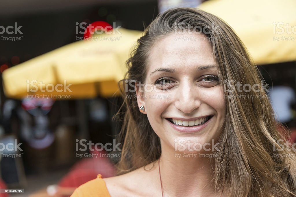 Smiling israeli young woman stock photo