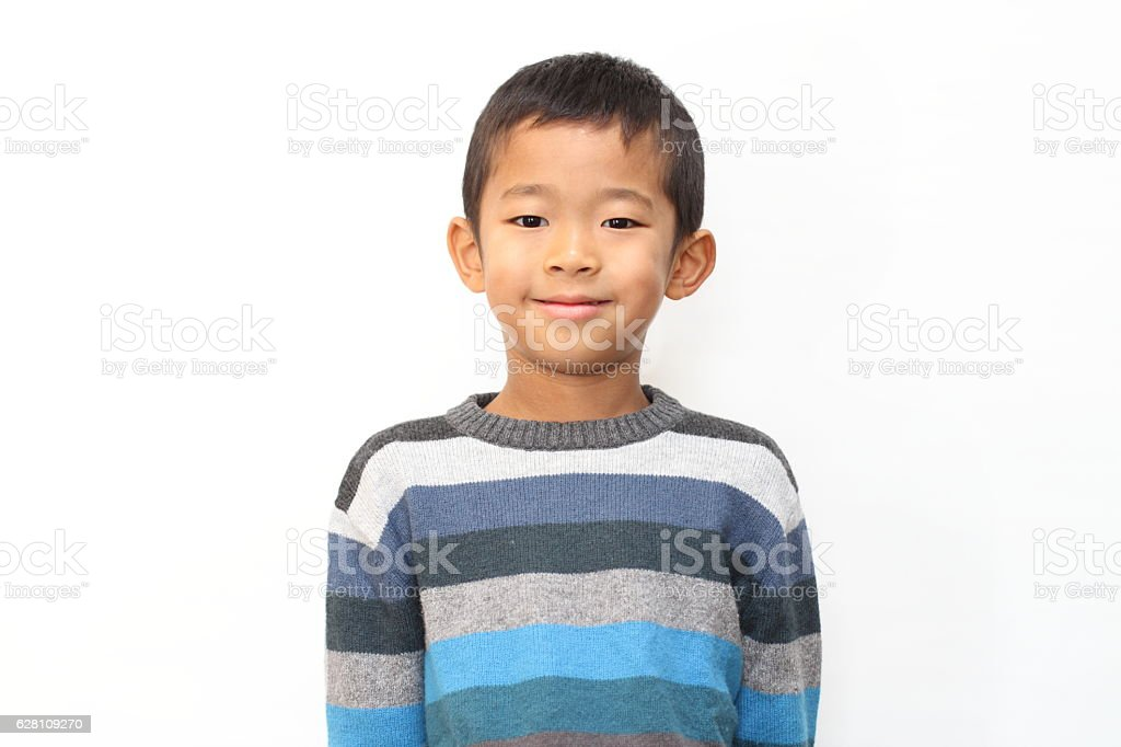 Smiling Japanese boy (first grade at elementary school) stock photo