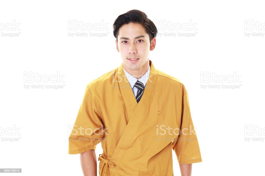Smiling Japanese chef stock photo