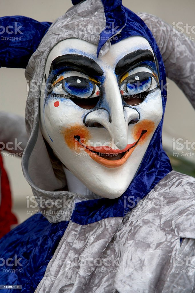 Smiling jester mask at Fasnacht Festival in Basel, Switzerland (XXL) royalty-free stock photo
