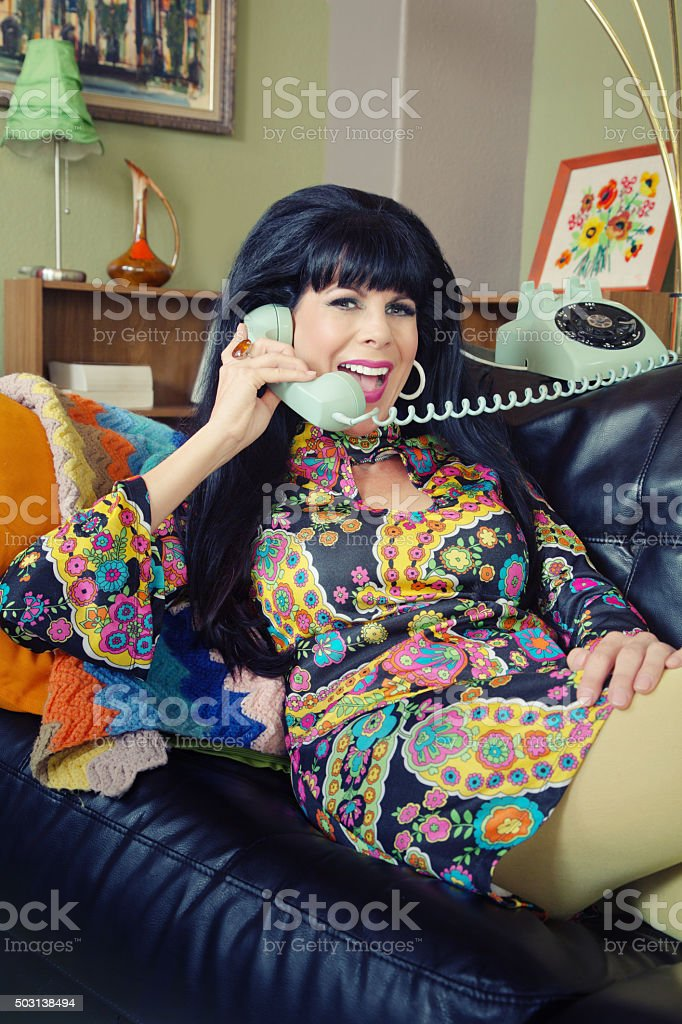 Smiling Lady on Phone stock photo