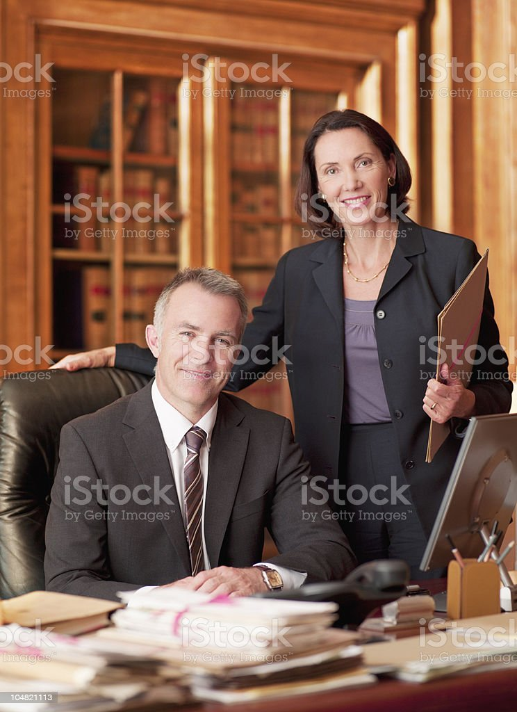 Smiling lawyers in office royalty-free stock photo