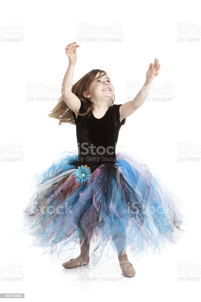 Smiling Little Ballerina Girl Dancing and Wearing Tutu stock photo