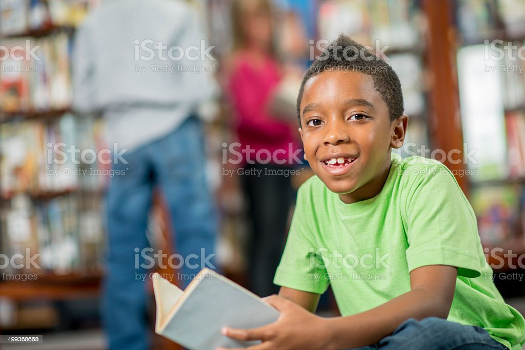 Smiling Little Boy at School stock photo