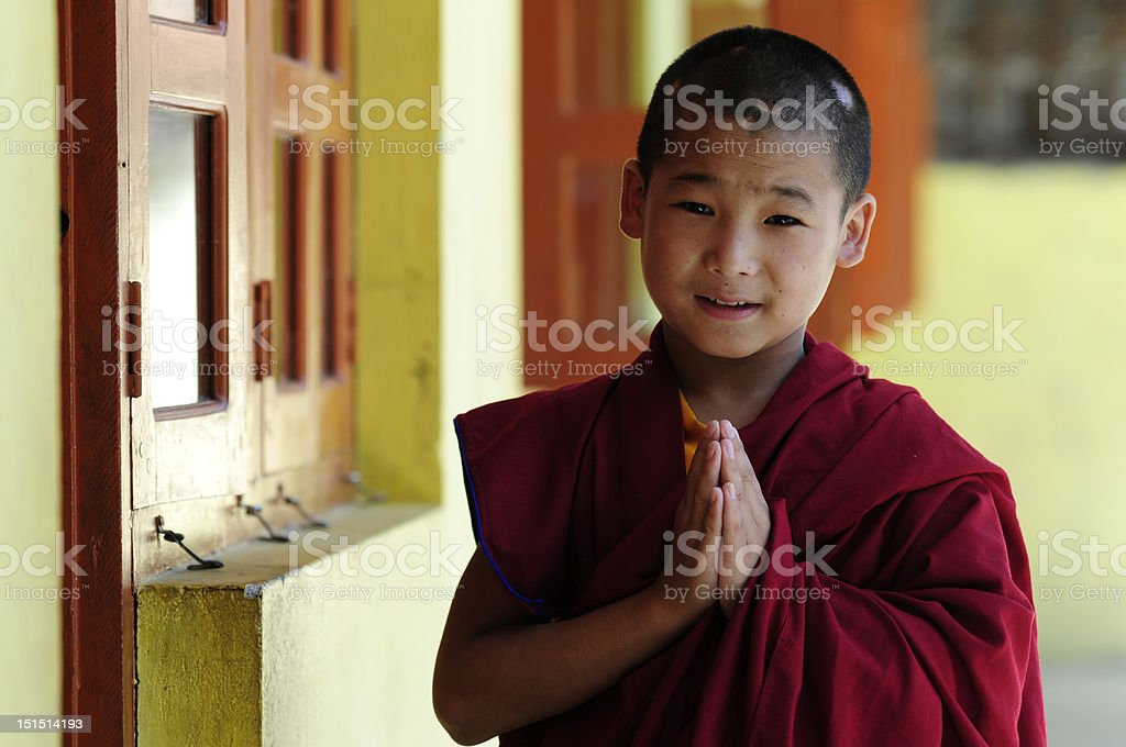 Smiling little boy monk , Janangpa School, Nepal stock photo