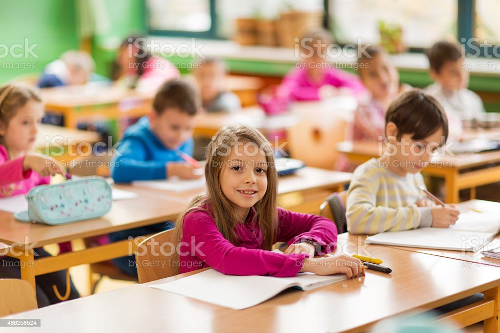Smiling little student on a class at school. stock photo