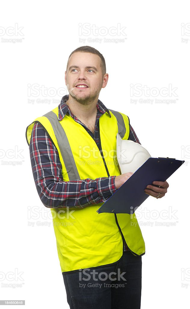 smiling male construction worker royalty-free stock photo