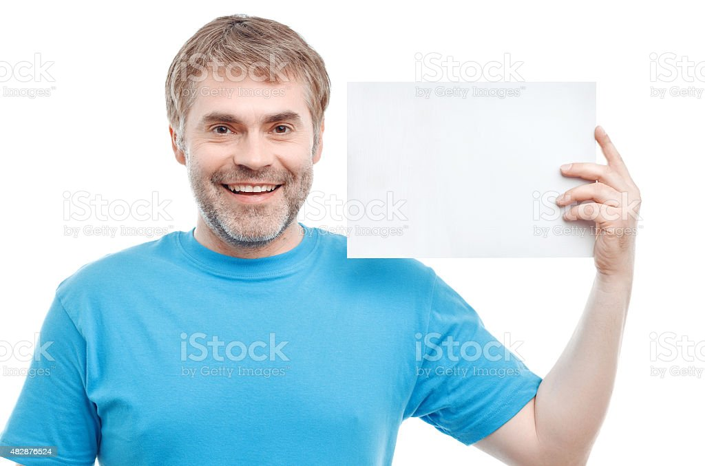 Smiling male holding paper stock photo