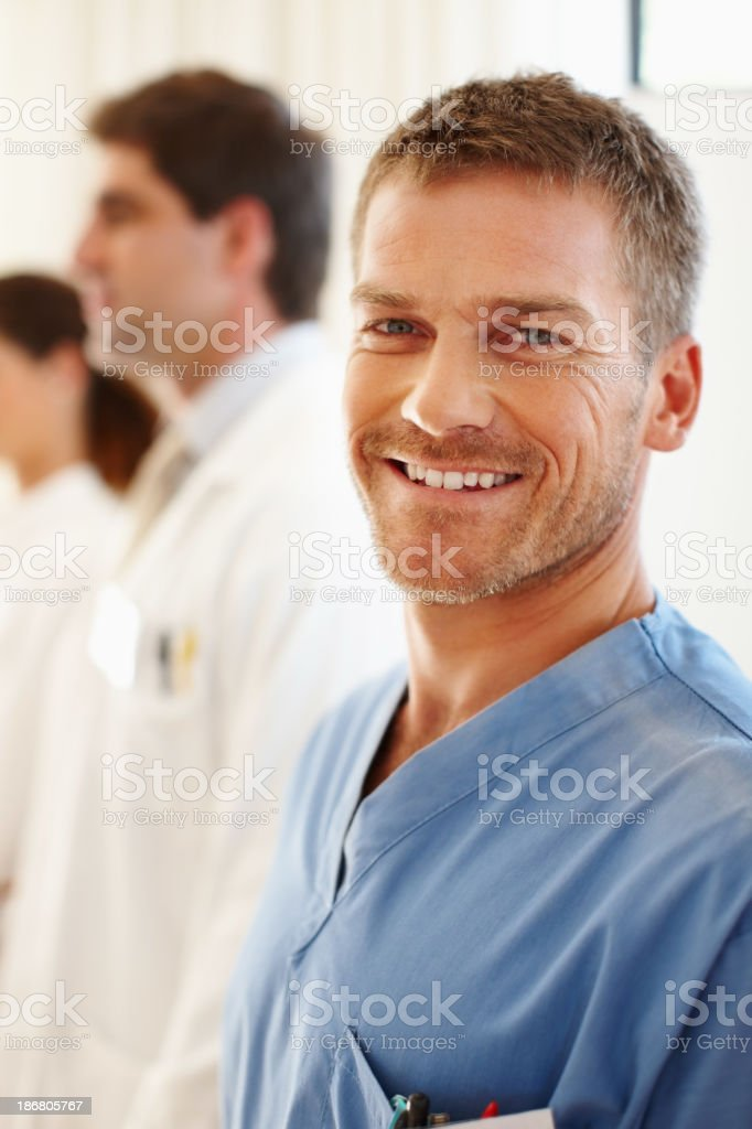 Smiling male nurse stock photo